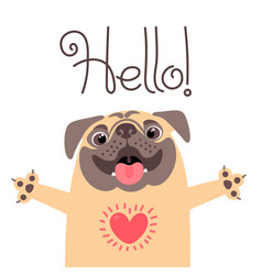 Greeting card with cute dog sweet pug says hello vector