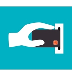 Hand holdinh credit card icon design vector