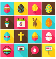 happy easter colorful icons vector image vector image