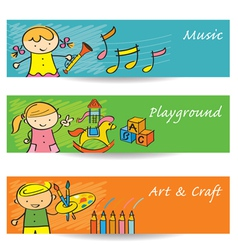 Kids Music Art Playground Banner vector image vector image