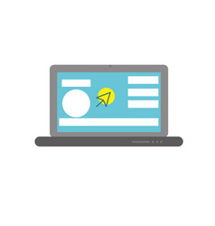 laptop with business website and arrow cursor vector image