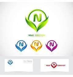 Letter n green leafs logo set vector