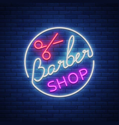 logo a neon sign for a hairdresser and barbershop vector image vector image
