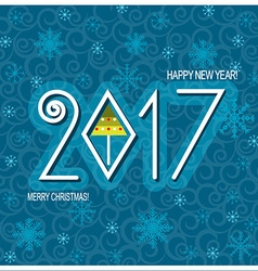Merry christmas and Happy new year card blue vector image vector image