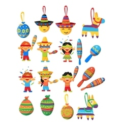 Mexican trditional fiesta elements collection vector