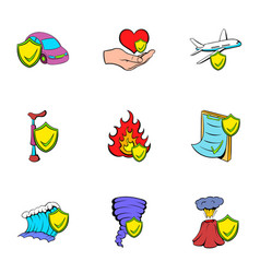 misadventure icons set cartoon style vector image vector image