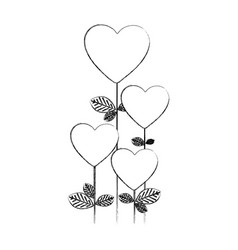 Monochrome blurred silhouette with floral branch vector