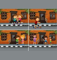 neighborhood scenes with people doing different vector image vector image