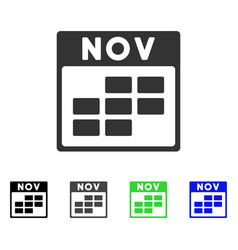 November calendar grid flat icon vector