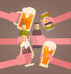people hands clinking beer cheering party vector image vector image