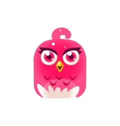 Pink girly chick square icon vector