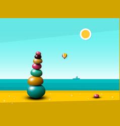 quiet peaceful ocean landscape with zen pebbles vector image