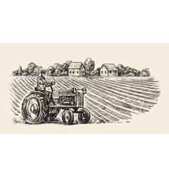 Retro tractor vector