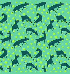 seamless pattern with dogs simple style animals vector image