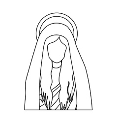 Silhouette half body saint virgin mary vector