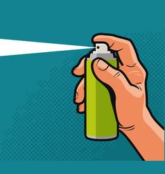 spray in hand comics style design cartoon vector image