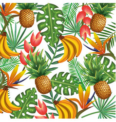 Tropical garden with pineapple and banana cluster vector