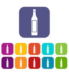 Vinegar bottle icons set flat vector