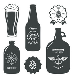 vintage craft beer brewery bottles label sign vector image