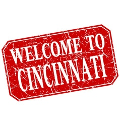 Welcome to cincinnati red square grunge stamp vector