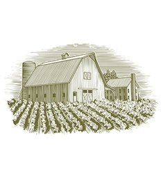 Woodcut barn and house vector
