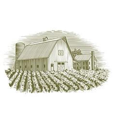 Woodcut Barn and House vector image
