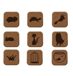 wooden icons set with pets silhouettes vector image