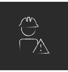 Worker with caution sign icon drawn in chalk vector image