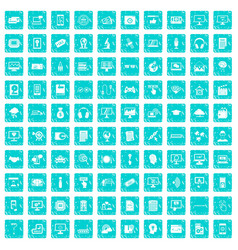 100 website icons set grunge blue vector