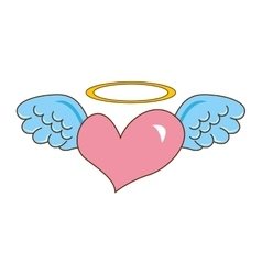 Heart with wings cute icon vector