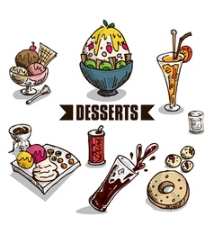 Fast food desserts objects vector