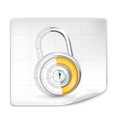 Lock drawing vector