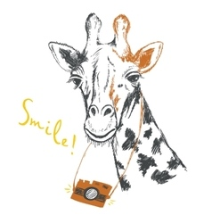 Fun sketch of a giraffe photographer vector image