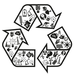 Energy and resource icons in recycle arrow vector