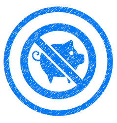 Forbidden pig rounded grainy icon vector
