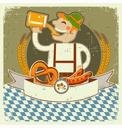 Vintage oktoberfest posterl label with man and vector