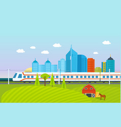 City surroundings landscape fields and farms vector