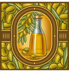 Retro olive oil vector
