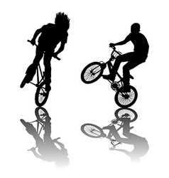 Silhouettes of bikers doing tricks vector