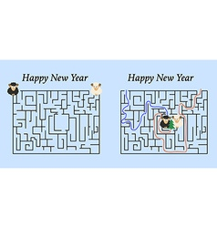 Maze Game for 2015 New Year Help Two Sheep to Find vector image