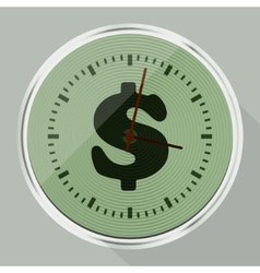 Round wall clock with long shadow vector