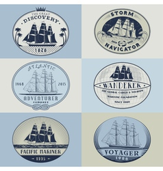 Nautical labelscolor1 vector