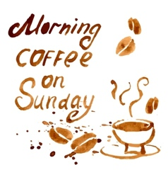 Handwritten phrase morning coffee on sunday vector