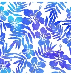 Blue watercolor hibiscus seamless pattern vector