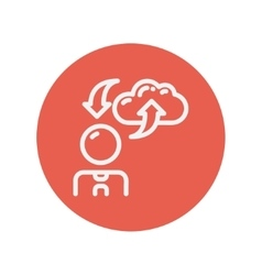 Man with cloud upload and download arrows thin vector