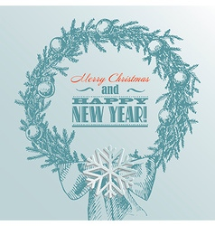 Christmas new year holidays hand drawn wit vector