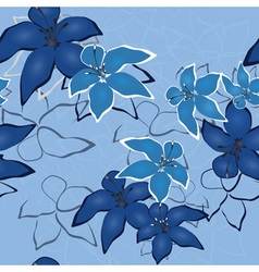 Blue vector seamless flower background pattern flo vector