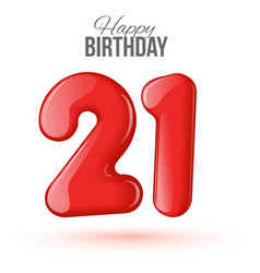 21 birthday greeting card with numbers vector