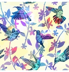 Hummingbird seamless pattern hand drawn tropical vector