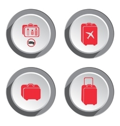 Airport baggage icon set hand luggage for vector